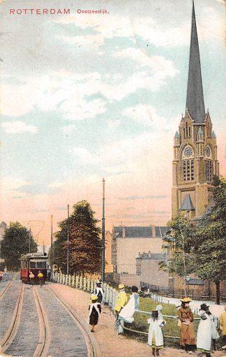 Ansichtkaart Rotterdam Oostzeedijk R.K. St. Lambertus kerk RETM Tram Lijn 1 HC12522