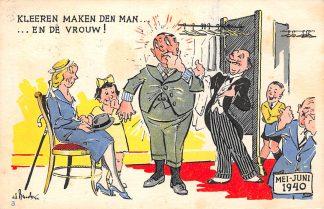 Ansichtkaart Mei-juni 1940 WO2 Kleeren maken den man … en de Vrouw! Humor HC12579
