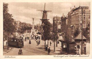 Ansichtkaart Rotterdam Coolsingel met Caland Monument RETM Tram 110 lijn 1 Tramhuisje Molen de Hoop HC12656