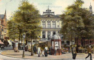 Ansichtkaart Rotterdam van Hogendorpsplein met bloemenmarkt 1909 HC12663
