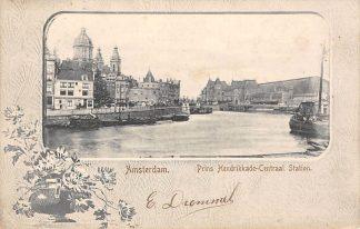Ansichtkaart Amsterdam Prins Hendrikkade Centraal Station 1903 Binnenvaart schepen Scheepvaart HC12676