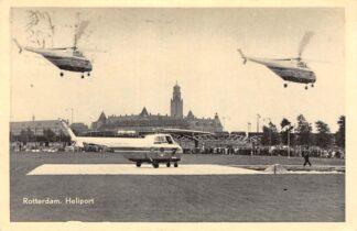 Ansichtkaart Rotterdam Heliport met helikopters 1954 Vliegveld Luchtvaart HC12679