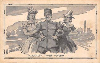 Ansichtkaart Militair Mobilisatie 1939 WO2 Tusschen twee vuren EMNA Soldaten serie HC12681