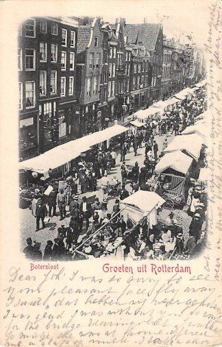 Ansichtkaart Rotterdam Botersloot met marktkramen Markt 1901 HC12721