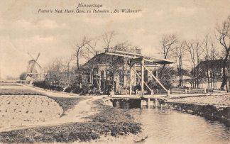 Ansichtkaart Minnertsga Pastorie Ned. Hervormde Gem. en Pelmolen Molen De Welkomst Friesland boven Franeker HC12751