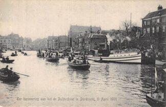 Ansichtkaart Dordrecht Haven Ter herinnering aan het de Ruyterfeest 11 april 1907 Binnenvaart schepen Scheepvaart HC12780