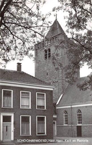 Ansichtkaart Schoonrewoerd Ned. Hervormde Kerk en Pastorie HC12884