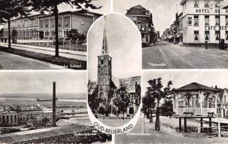 Ansichtkaart Oud-Beijerland Technische School Suikerfabriek Ned. Hervormde Kerk Molendijk en Oostvoorstraat Hoeksche Waard HC12966