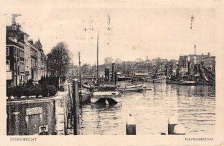 Ansichtkaart Dordrecht Havengezicht Sleepboot Baggermolen 1934 Binnenvaart schepen Scheepvaart HC13039