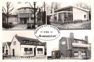 Ansichtkaart Groeten uit 't Westland van Burgersdijk Wateringen Loosduinen Honselersdijk en 's-Gravenzande Café HC13068