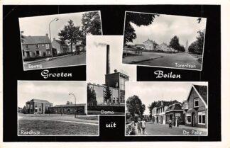 Ansichtkaart Beilen Groeten uit 1960 Esweg Domo Zuivelfabriek Torenlaan Raadhuis en De Paltz HC13076