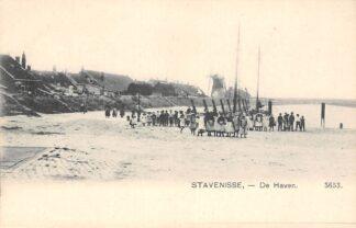 Ansichtkaart Stavenisse De Haven met kinderen en molen HC13108