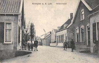Ansichtkaart Krimpen aan de Lek Middenland en molen 1914 HC13286