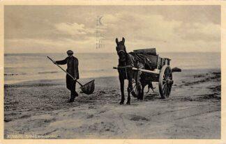 Ansichtkaart Kijkduin Schelpenvisscher met paard en wagen 1941 Strand zee Den Haag  HC13287