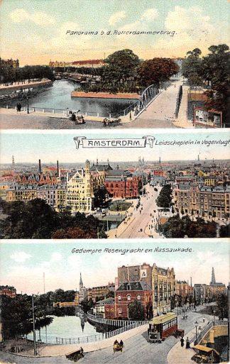 Ansichtkaart Amsterdam Panorama Rotterdammerbrug Leidscheplein en Gedempte Rosengracht en Nassaukade Tram 1907 HC13549