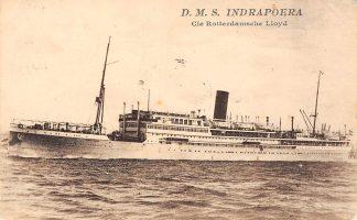 Ansichtkaart Rotterdam D.M.S. Indrapoera Rotterdamsche Lloyd Scheepvaart Schepen HC13558