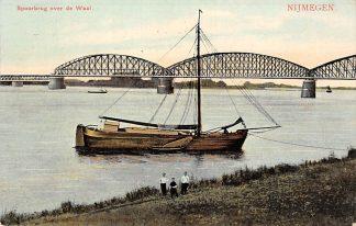 Ansichtkaart Nijmegen Spoorbrug over de Waal 1908 Spoorwegen Binnenvaart schepen HC13603