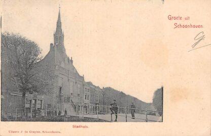 Ansichtkaart Schoonhoven Stadhuis met Haven 1905 HC13611