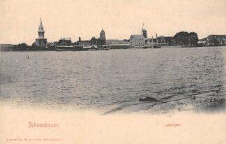 Ansichtkaart Schoonhoven Lekzijde Watertoren Kerk Molen Stoomboot Reederij op de Lek Binnenvaart schepen Scheepvaart HC13612
