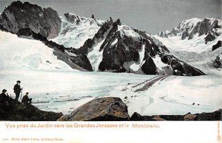 Ansichtkaart Zwitserland Vue prise du Jardin vers les Grandes Jorasses et le Montblanc Bergbeklimmers Schweiz Switzerland Suisse Europa HC13643