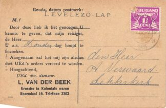 """Ansichtkaart Gouda Reclame L. van der Beek Grossier in Koloniale waren, """"Rozendaal 16 Roemenie Petrosany Kossutj Lajes-utca Europa HC13649"""