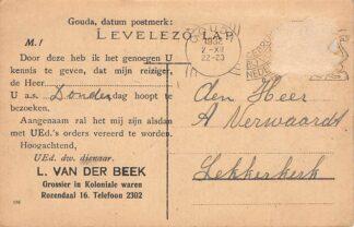 """Ansichtkaart Gouda Reclame L. van der Beek Grossier in Koloniale waren """"Rozendaal 16 Hongarije Tallya Rom. kath. iskola Europa HC13651"""