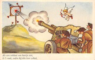 Ansichtkaart Militair Soldaten humor Als een soldaat een hartje ziet .. Illustrator Baumgarten HC13663