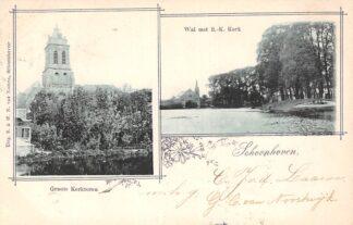 Ansichtkaart Schoonhoven Groote kerktoren Wal met R.-K. Kerk 1901 Van Nooten HC13672