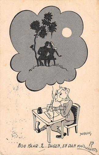 Ansichtkaart Militair Soldaten humor Nog maar 2 dagen , en dan huiswaarts Illustrator Joop Geesink 1940 HC13701