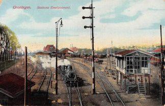 Ansichtkaart Groningen Stations Emplacement Stoomtrein Spoorwegen Station Treinen HC13706