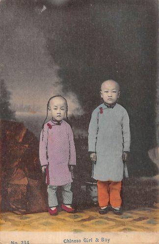 Ansichtkaart Hong Kong Chinese Girl & Boy China Azie HC13757