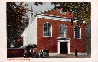 Ansichtkaart Valkenburg (ZH) Groeten uit met kerk 1925 HC13791
