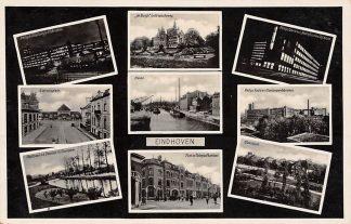 Ansichtkaart Eindhoven 1937 9-luik met o.a. Station Haven Philips Postkantoor HC13839