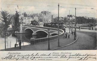 Ansichtkaart Amsterdam Nieuwe Amstelbrug met trams 1905 HC13844