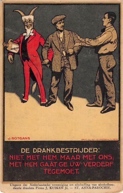 Ansichtkaart Sint Annaparochie Nederlandsche Vereeniging tot afschaffing van alcoholhoudende dranken Illustrator J. Rotgans HC13871 Friesland