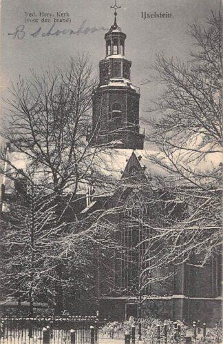 Ansichtkaart IJsselstein (UT) Ned. Hervormde Kerk voor den brand 1912 HC13878