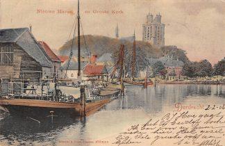 Ansichtkaart Dordrecht Nieuwe Haven en Groote Kerk Binnenvaart schepen Scheepvaart 1906 HC13883