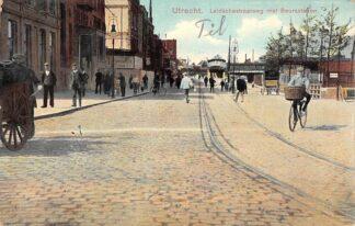 Ansichtkaart Utrecht Leidschestraatweg met Beursstation 1910 Station Spoorwegen HC13892
