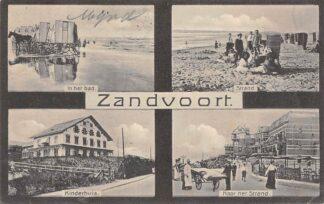 Ansichtkaart Zandvoort 1910 Vierluik In het Bad Strand Kinderhuis Naar het strand HC13897