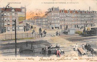 Ansichtkaart Amsterdam 1e Oosterparkstraat met Vrolikstraat en overweg S.S.Stoomlocomotief Treinen Spoorwegen 1904 HC13904