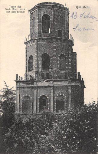 Ansichtkaart IJsselstein (UT) Toren der Ned. Hervormde Kerk na den brand 1912 HC13914