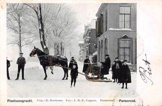 Ansichtkaart Purmerend Winter Plantsoengracht Arreslee met paard in de sneeuw Goudopdruk 1903 HC13919