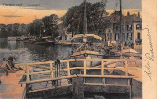 Ansichtkaart Purmerend Kanaalkade met binnenvaartschepen 1907 HC13923