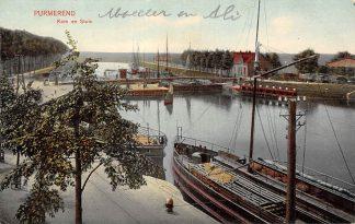 Ansichtkaart Purmerend Kom en Sluis Binnenvaart schepen Scheepvaart HC13925
