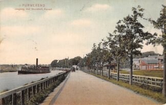Ansichtkaart Purmerend Jaagweg met Noordhollands Kanaal Binnenvaart schepen Scheepvaart 1906 HC13935