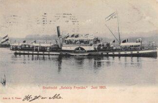Ansichtkaart Schoonhoven Boottocht Selskip Fryslan Juni 1905 Reederij op de Lek s.s. Krimpen aan de Lek Binnenvaart schepen Scheepvaart HC13947