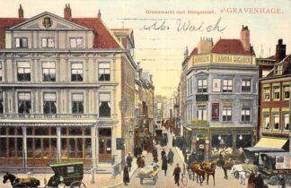 Ansichtkaart 's-Gravenhage Groenmarkt met Hoogstraat 1907 Paard en wagen HC13954