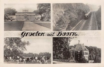 Ansichtkaart Baarn Groeten uit 1947 Spoor met trein Paleis Soestdijk en Drakenstein en koeien in de wei HC13970