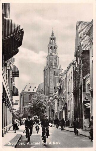 Ansichtkaart Groningen A-straat met A-Kerk 1951 HC13995