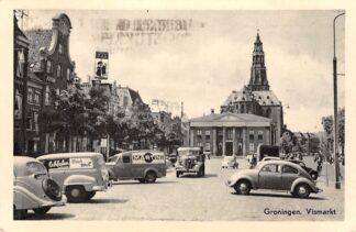 Ansichtkaart Groningen Vismarkt met auto VW 1958 HC14018